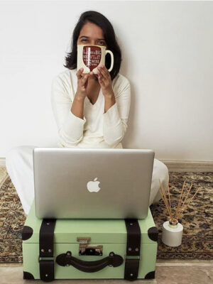Love this makeshift desk, and sitting on the floor--a change of scenery or space